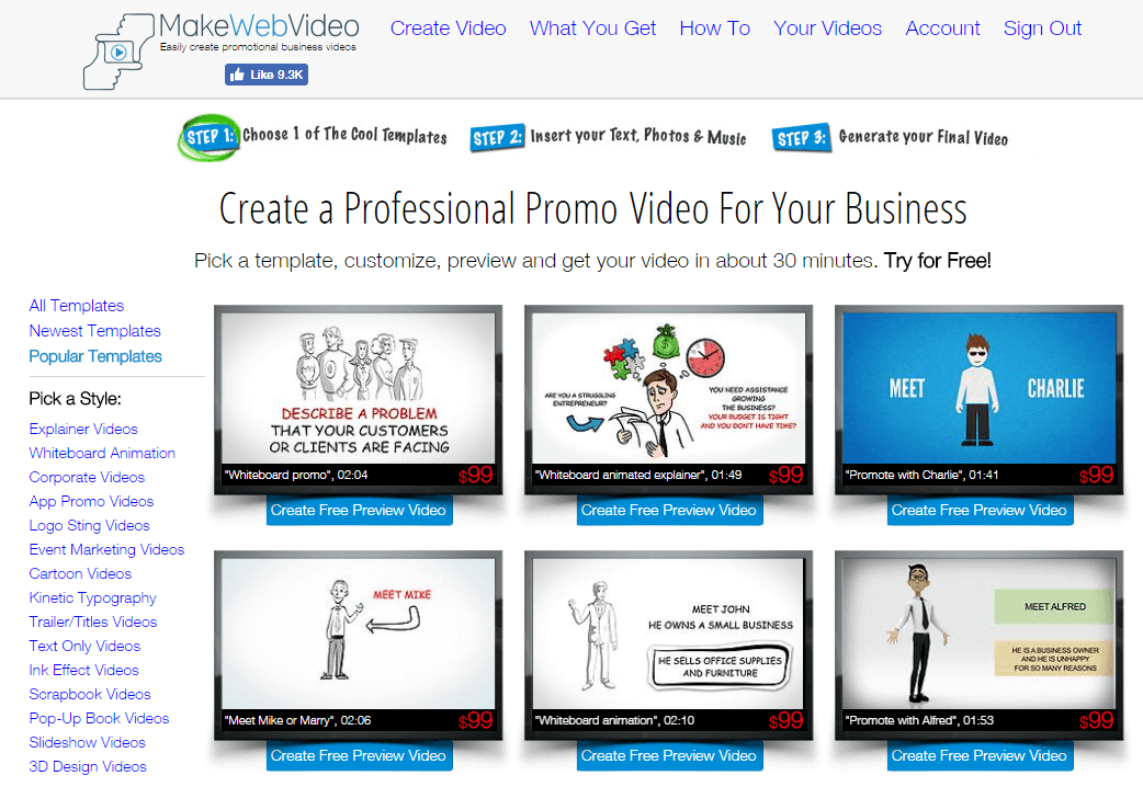 makewebvideo create video