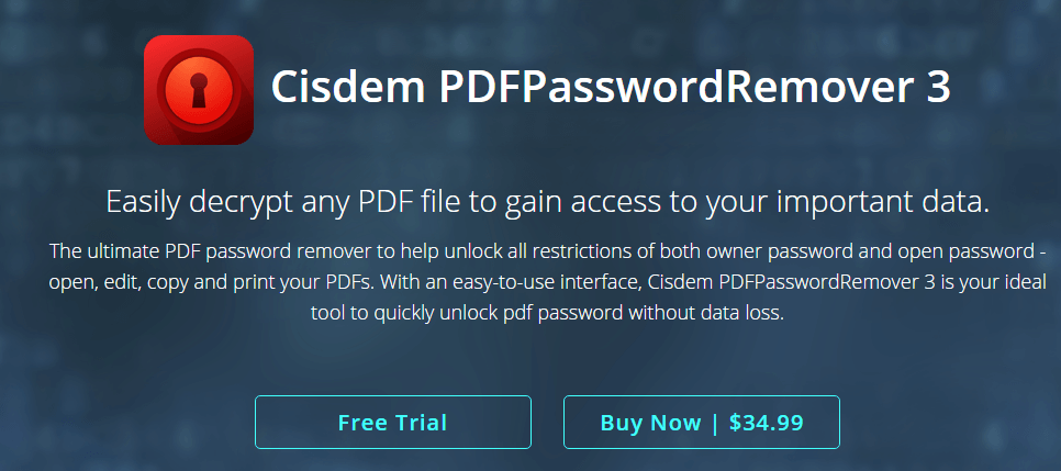 Cisdem PDFPasswordRemover 3