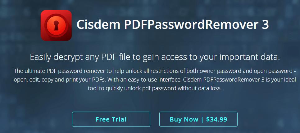 Cisdem PDFPasswordRemover 3