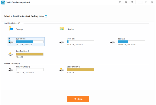 of EaseUS free data recovery software